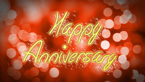 Romantic Happy Anniversary congratulation message on red background, celebration Live Action