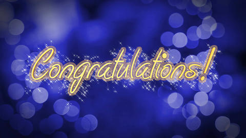 Congratulations shiny message on blue background, creative greeting, celebration Live Action