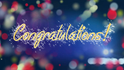 Colorful background with Congratulations message, creative greeting, celebration Live Action