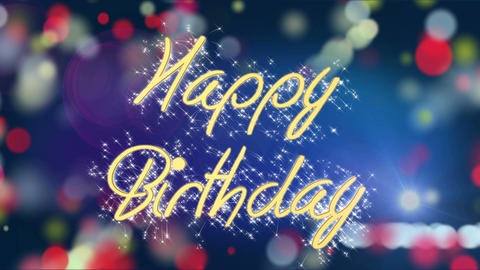 Colorful background with Happy Birthday message, creative greeting, celebration Footage