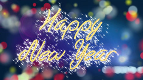 Shiny Happy New Year congratulation message on colorful background, greeting Footage