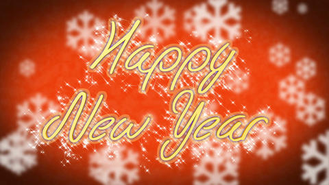 Congratulation message Happy New Year on winter themed background, greeting Footage