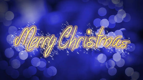 Merry Christmas shiny message on blue background, creative greeting, celebration Live Action
