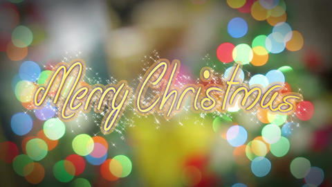 Merry Christmas greeting on shiny colorful background, congratulation message Live Action