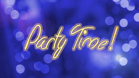 Party Time creative message on shiny blue background,…, Live Action