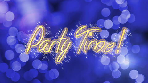 Party Time creative message on shiny blue background, celebration, anniversary Live Action