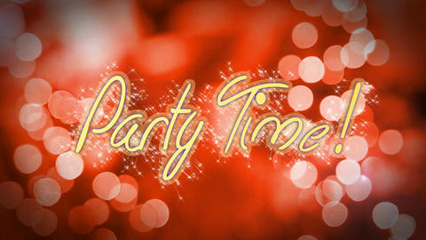 Party Time celebration message on romantic red background, anniversary, wedding Footage