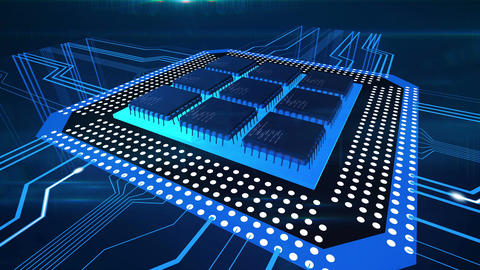 Blue lines moving to computer circuit board, CPU processing data, technology Footage