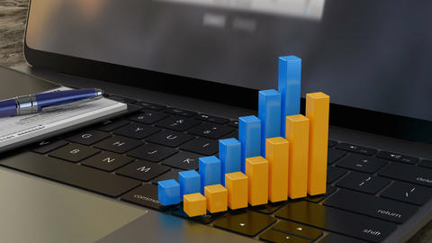 Growing 3D financial graph on laptop keyboard, financial statistics, analytics Footage