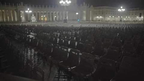 Many empty chairs in Saint Peter's Square, preparations for papal audience Footage