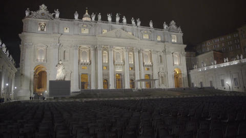 Large seating area for papal audience in Saint Peter's Square, Vatican City Footage