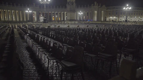 Empty chairs in Vatican square, expansion of atheism, global religion crisis Footage