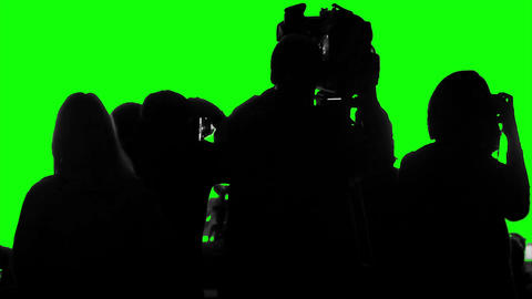 Crowd of cameramen, reporters, photographers shooting an event on a green screen Footage