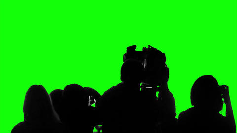 Television crew covering event, live broadcast, media, reporters on green screen Footage