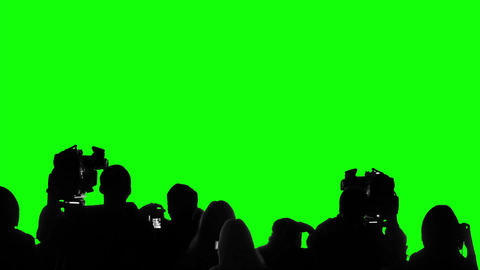 Many camera operators, reporters working at press event, chroma key background Footage