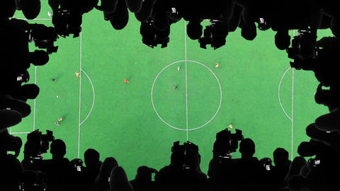 Television crew broadcasting football match, sports channel live streaming event Footage
