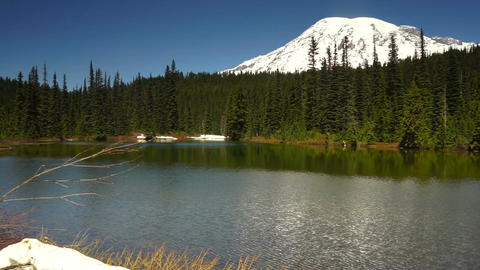 Calm Waters Ripple Reflection Lake Mount Rainier National Park Footage