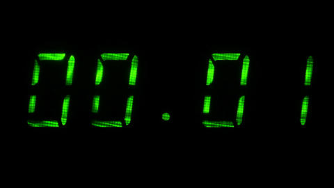 Digital clock display shows time of 00 hours 00 minutes to 00 hours 01 minutes Footage