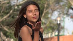Teen Girl Blowing A Kiss Footage