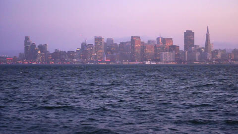 Panoramic San Francisco California Downtown City Skyline Pacific Ocean Footage
