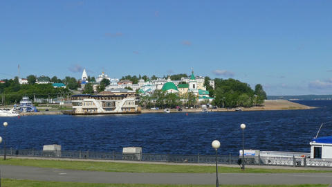 Embankment of Cheboksary city in Russia Footage