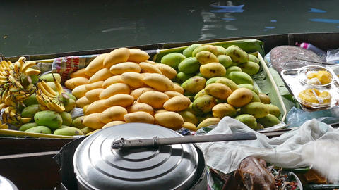 Boat with fruits on floating market in Bangkok Footage