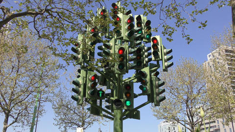London. A traffic light with a lot of light Footage