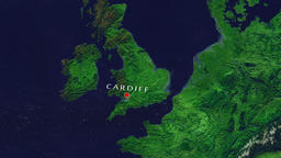 Cardiff - Wales zoom in from space Animation