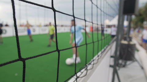 POV of supporter watching amateur teams play soccer game, active lifestyle Footage