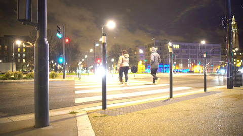 Pedestrians crossing street on green traffic light, transportation, urban life Footage