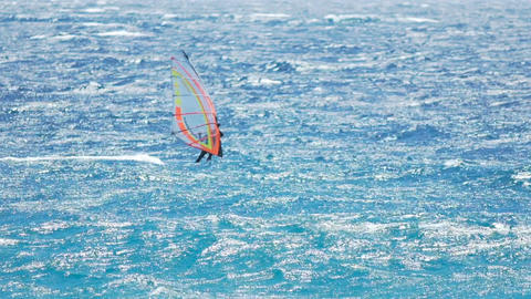 Risky windsurfing, athletic man gliding across azure ocean, exciting experience Footage
