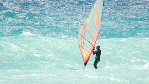 Master of sports sailing on waves, showing extreme skills, windsurfing school Footage