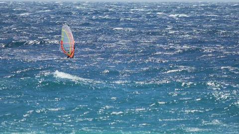 Windsurfing, skilled person showing great performance on waves, active life Footage