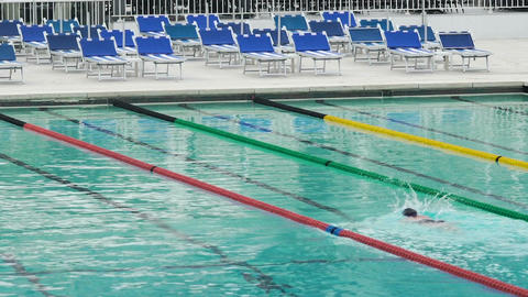 Confident person swimming in pool, training before professional competition Footage