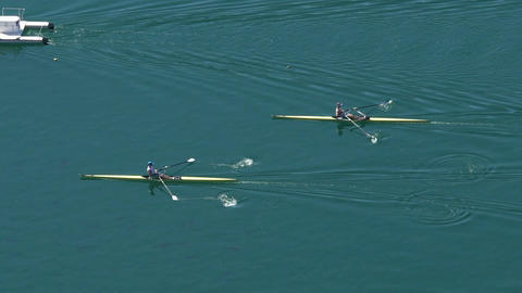 Speed rowing, motorboat escorting professional rowers in boats, water sports Footage
