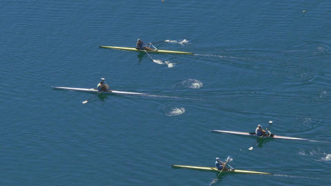 Athletes competing in rowing race on tranquil lake, water sports, slowmotion Live Action