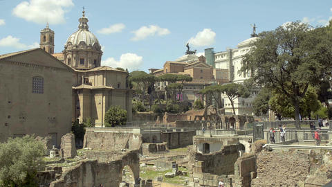 Stone ruins of Roman Forum, Italian landmark, place of interest for tourists Live Action