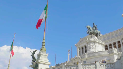 Famous monument to king Victor Emmanuel in Rome, Italian place of interest Live Action