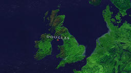Douglas - Isle of Man zoom in from space Animation