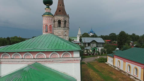 Aerial panorama view on Monastery in Suzdal Russia Footage