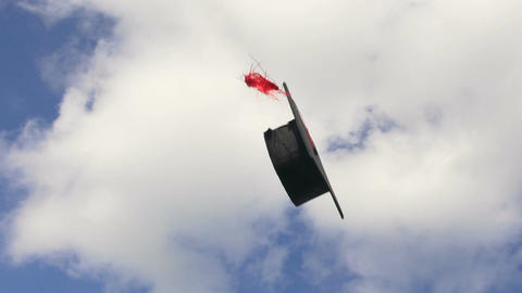 Academic cap with tassel thrown up in air flying against blue sky background Footage