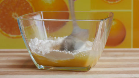 Mixing Egg And Flour stock footage