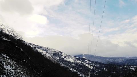 Rural Power Lines in Winter Footage