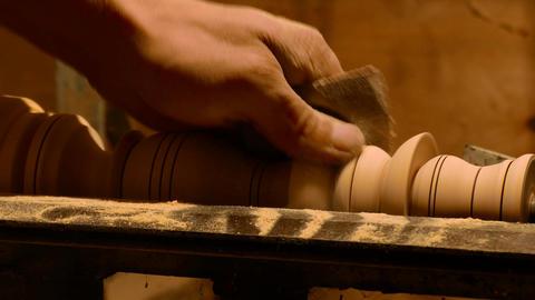 Sanding a Furniture Leg Stock Video Footage