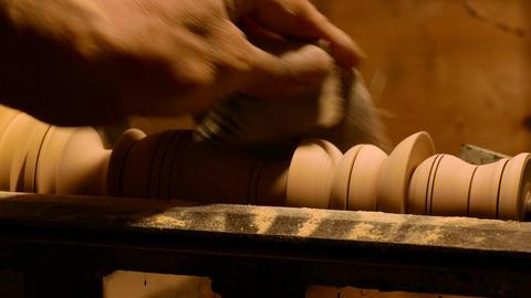 Sanding a Furniture Leg Footage