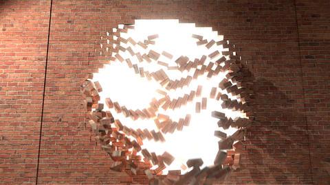 Brick wall break through demolish smash escape to white light 4K Footage