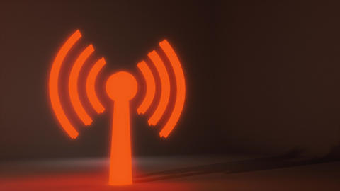 Wifi wireless internet network net web connection icon logo wi-fi wi fi 4k Footage