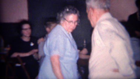 1966: Cute Old Couple Square Dancing Old Style Hand On Hips stock footage