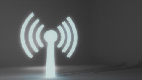 Wifi wireless internet network net web connection icon logo wi-fi wi fi 4k Footage