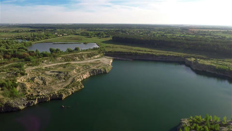 Flying Over Quarry Lake Footage